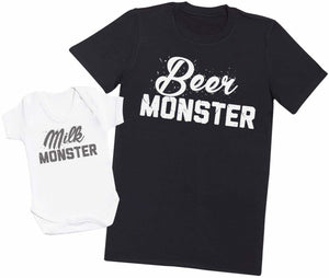Milk Monster & Beer Monster - Mens T Shirt & Baby Bodysuit - The Gift Project