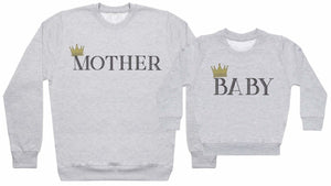 Mother And Baby Crowns - Matching Set - Baby / Kids Sweater & Dad Sweater - The Gift Project