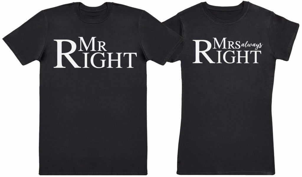 Mr Right & Mrs Always Right - Couple T-Shirt Gift Set - The Gift Project