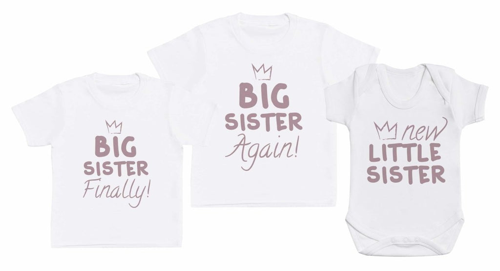 New Little Sis, Big Sis Again, Big Sis Finally - Matching Kids Set - Bodysuits & T-Shirts - Gift Set - The Gift Project