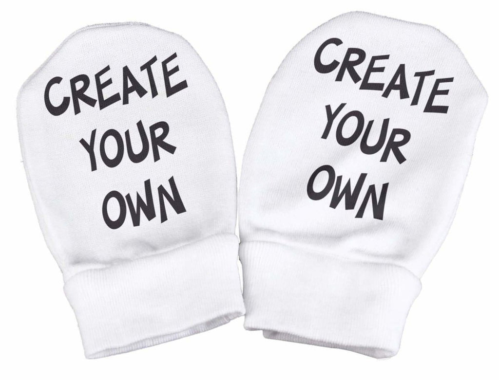PERSONALISED Create Your Own Slogan Baby Scratch Mittens - The Gift Project