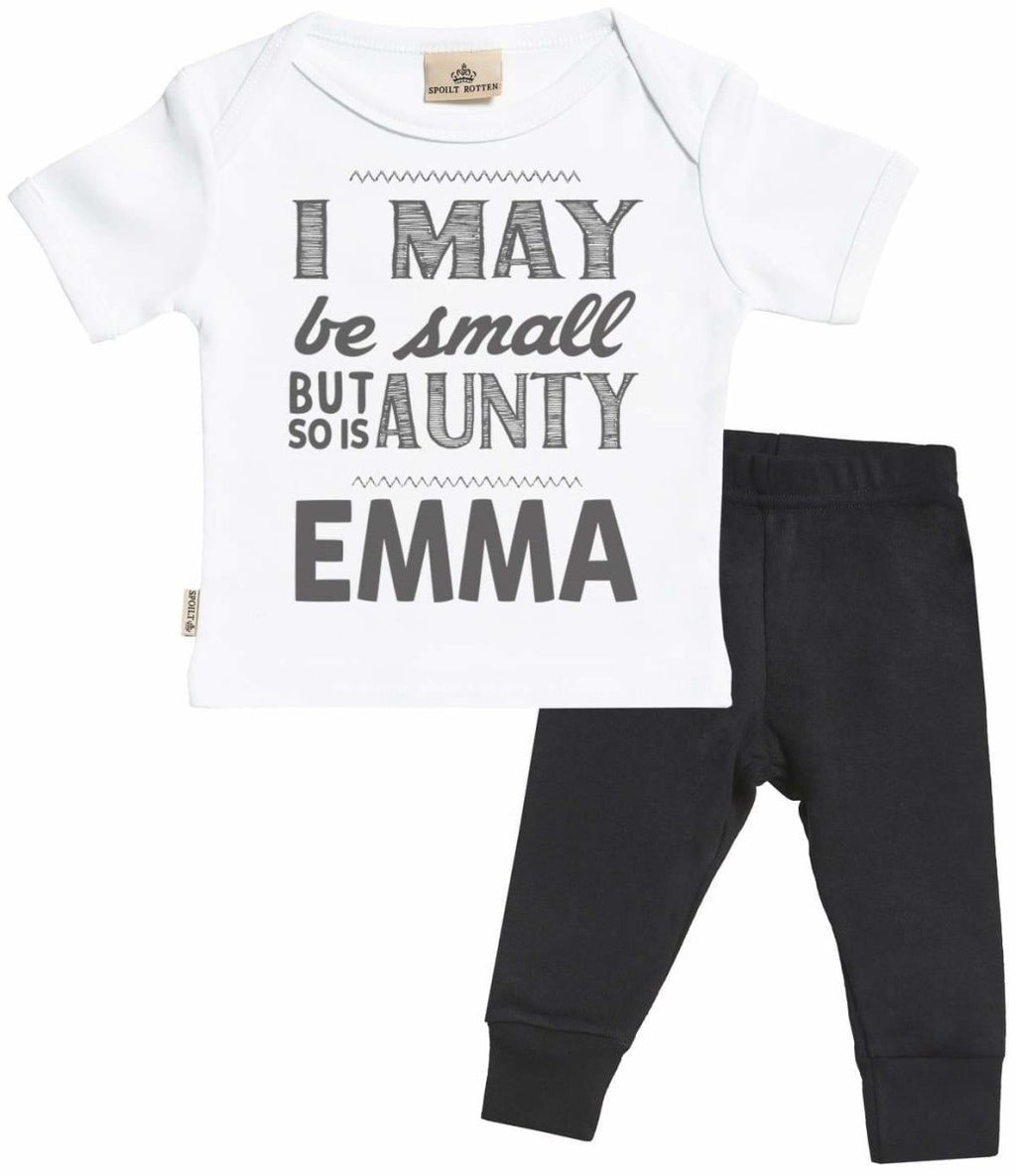 Personalised I May Be Baby T-Shirt & Baby Jersey Trousers Outfit Set - The Gift Project