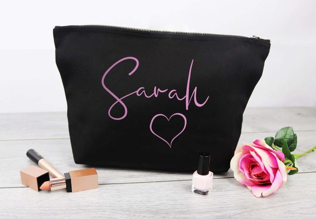 Personalised 'Sarah' Heart - Canvas Accessory Make Up Bag - Gift For Her, Gift For Mum, Gift for Girlfriend - The Gift Project