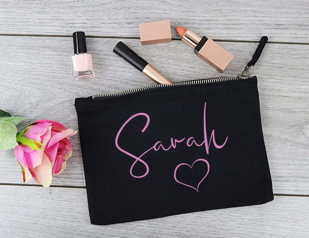 Personalised 'Sarah' Heart - Canvas Accessory Make Up & Purse Pouch - Gift For Her, Gift For Mum, Gift for Girlfriend - The Gift Project