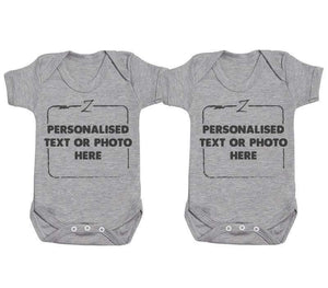 Personalised Twins Baby Bodysuits - The Gift Project