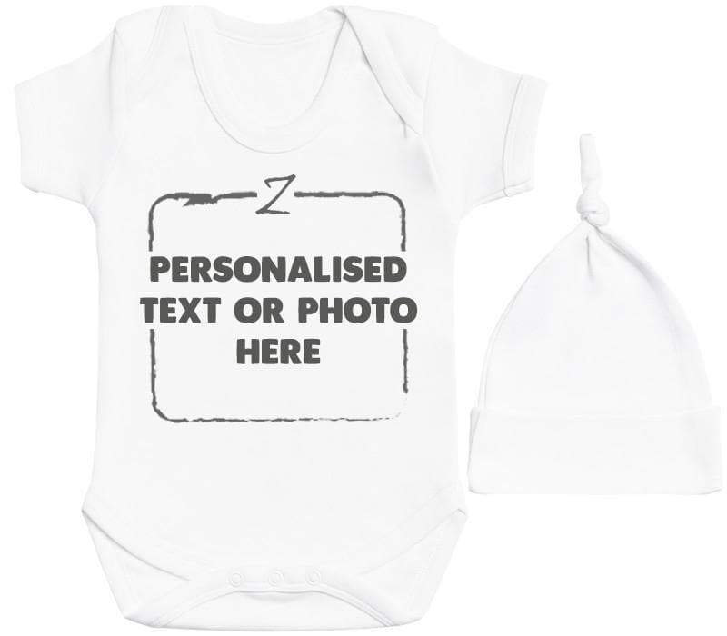 Personalised White Baby Bodysuit & White Baby Knot Hat - The Gift Project