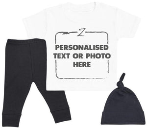Personalised White Baby T - Shirt, Black Baby Bottoms & Black Knot Hat - The Gift Project