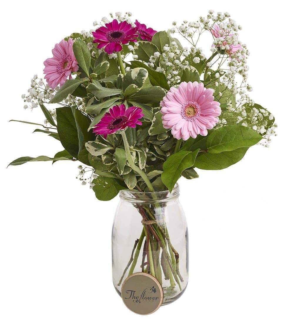 Pink Gerbera and Gyp Classic Fresh Flower Bunch - The Gift Project