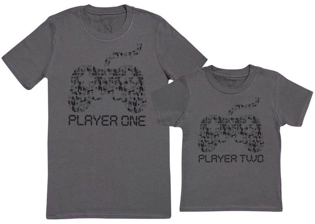 Player One & Player Two - Kid's Gift Set with Kid's T - Shirt & Father's T - Shirt - The Gift Project