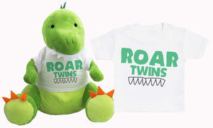 Roar Twins - Matching Dinosaur Teddy & Baby Kids T-Shirt - The Gift Project