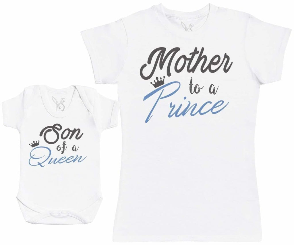 Son Of A Queen, Mother To A Prince - Baby Gift Set with Baby Bodysuit & Mother's T - Shirt - The Gift Project