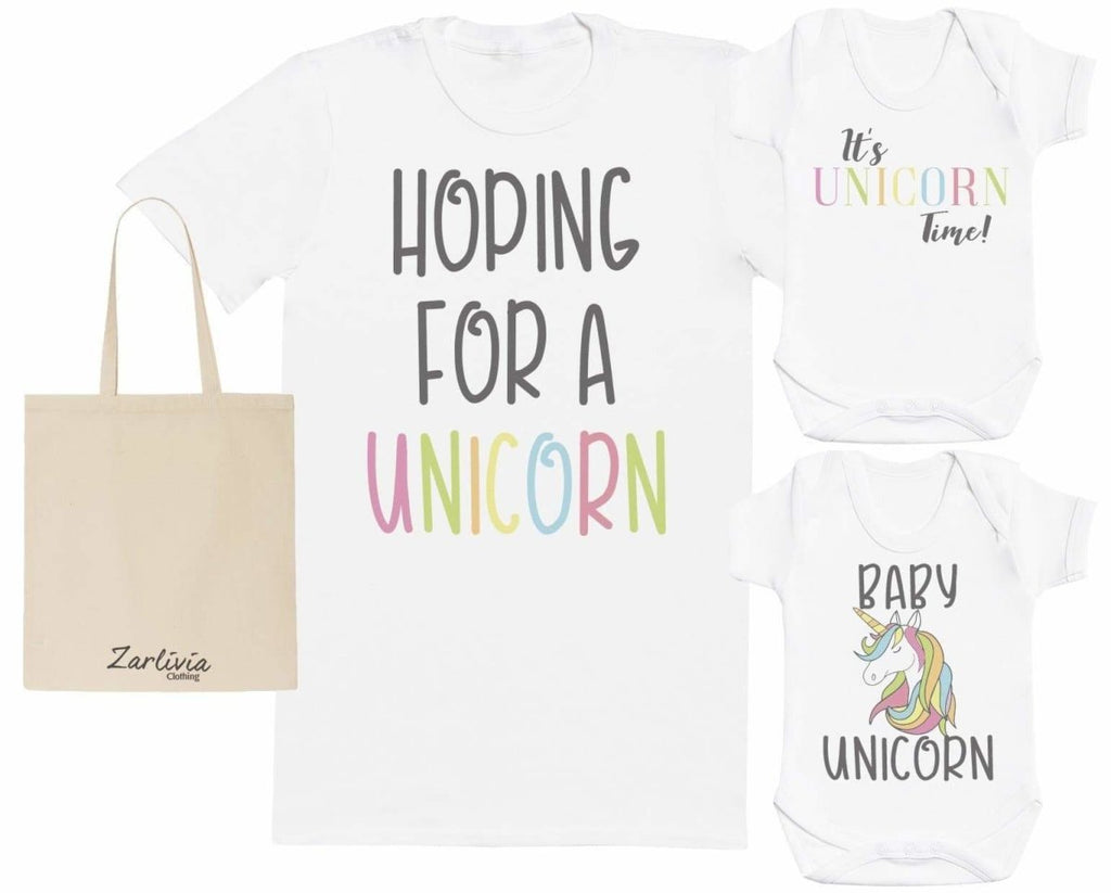 Unicorn Maternity Hospital Gift Set Bag with Hospital T - Shirt & New Baby Bodysuit - The Gift Project