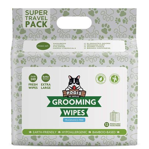 Pogi's Pet Supplies - Grooming Wipes - Unscented - 240 Packs - 20 x 23 cm