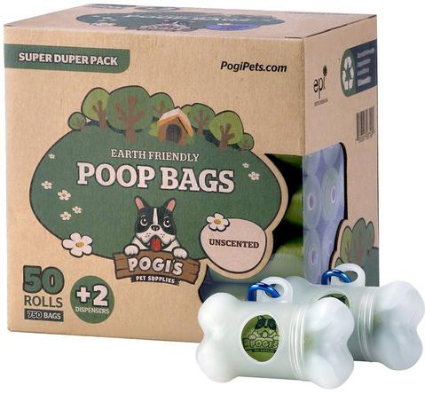 Pogi's Pet Supplies - Poop Bags - Unscented - 50 Packs - With 2 Dispensers
