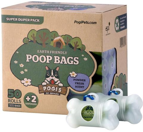Pogi's Pet Supplies - Poop Bags - Powder Fresh Scent - 50 Packs - With 2 Dispensers