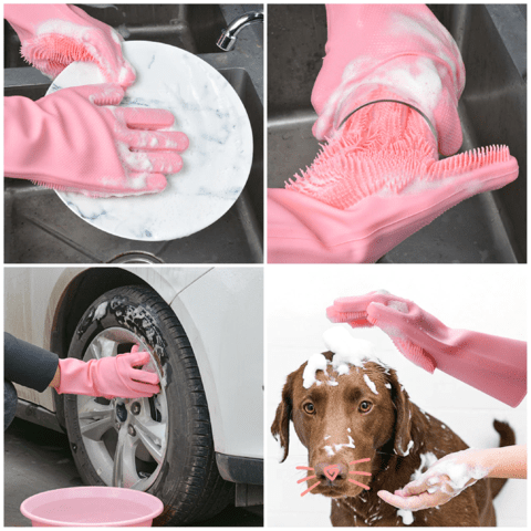 rubber gloves with scrubbers attached cleaning dishes pet and tires