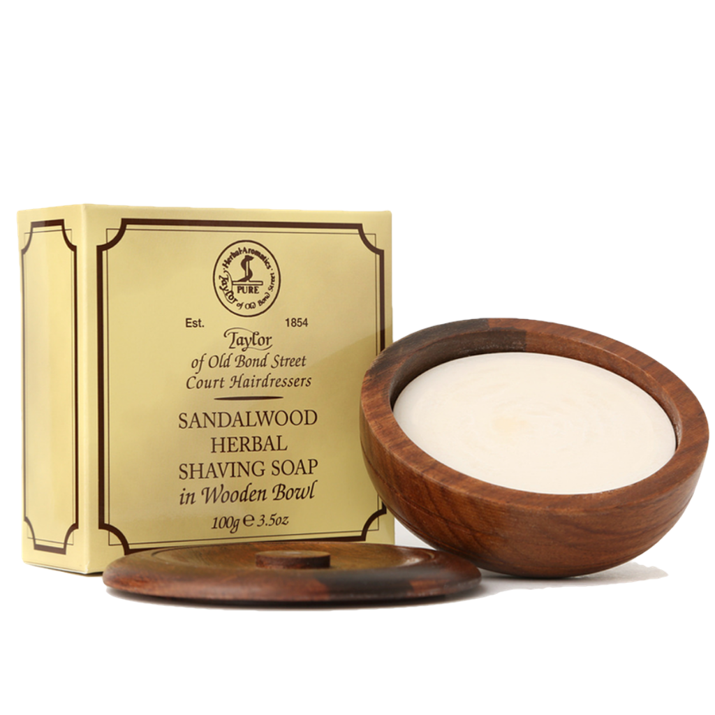 Sandalwood Shaving Soap in Wooden Bowl 100g - BUYBARBER.COM