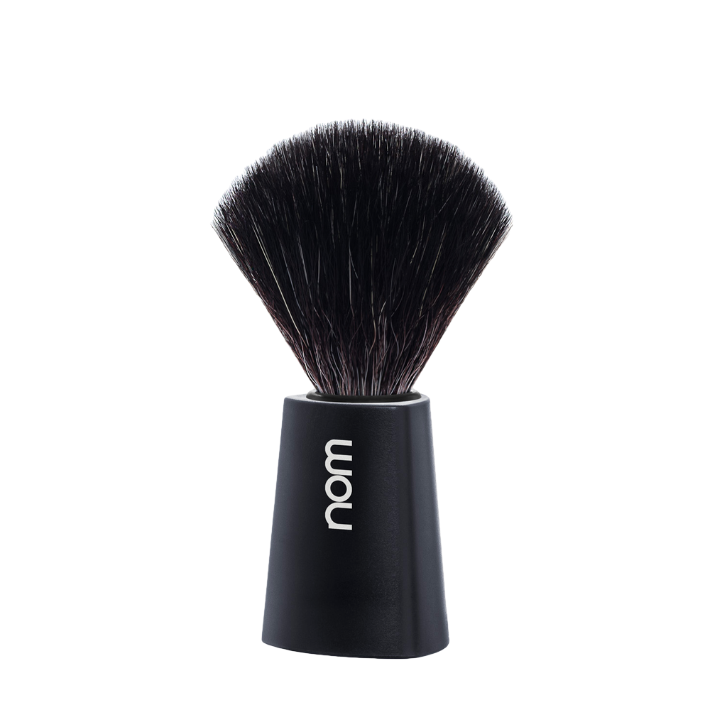 NOM Shaving Brush, Black Fibre, Plastic Black - BUYBARBER.COM