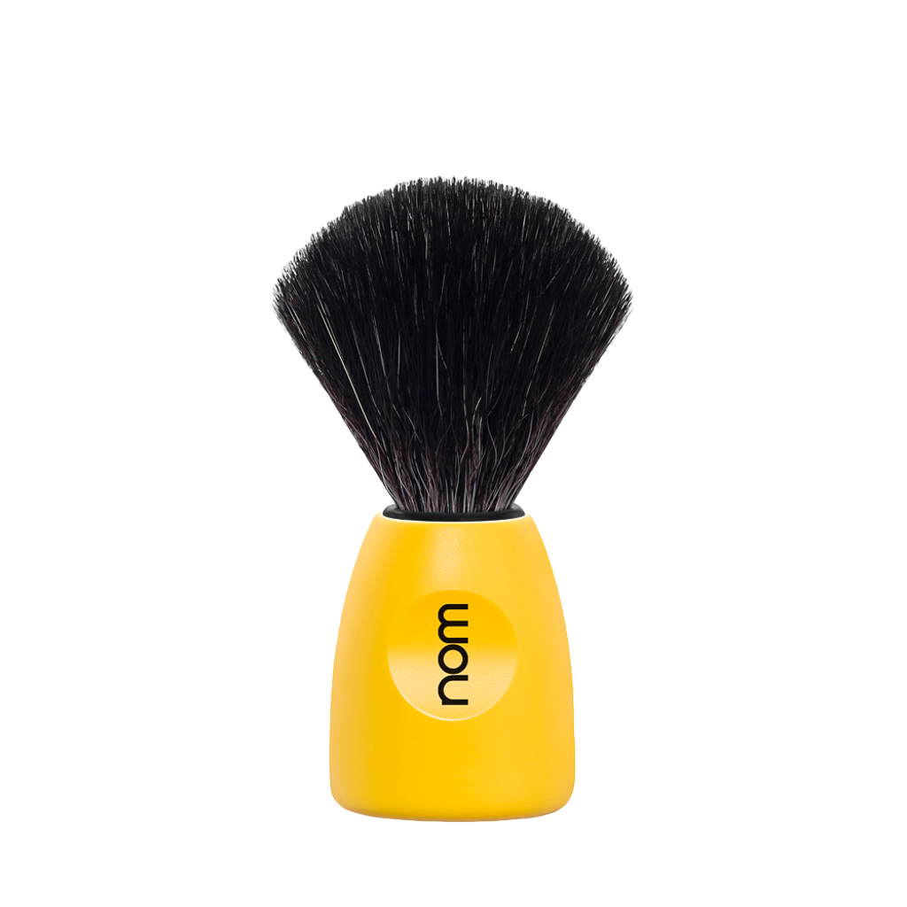 NOM Shaving Brush, Black Fibre, Plastic Lemon - BUYBARBER.COM