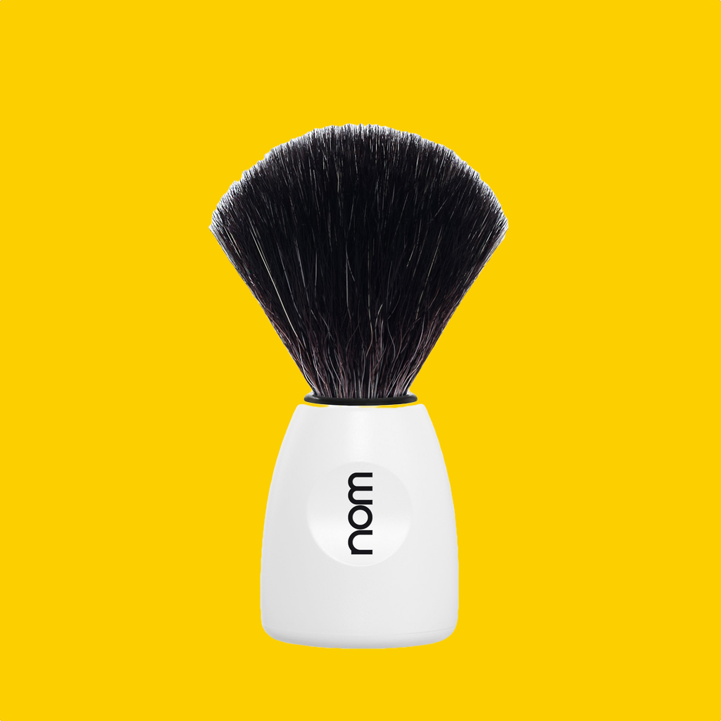 NOM Shaving Brush, Black Fibre, Plastic White - BUYBARBER.COM