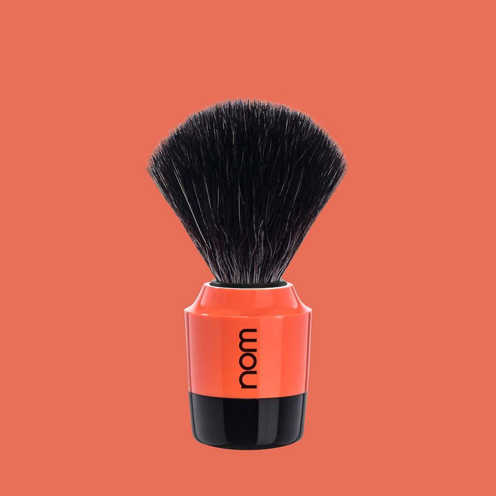 NOM Shaving Brush, Black Fibre, Plastic Black/Coral - BUYBARBER.COM