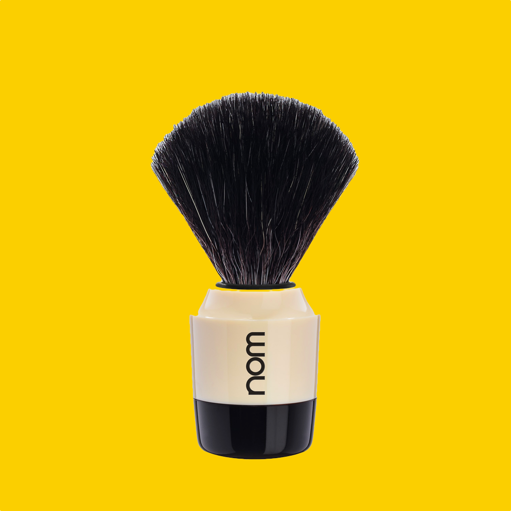 NOM Shaving Brush, Black Fibre, Plastic Black/Creme - BUYBARBER.COM