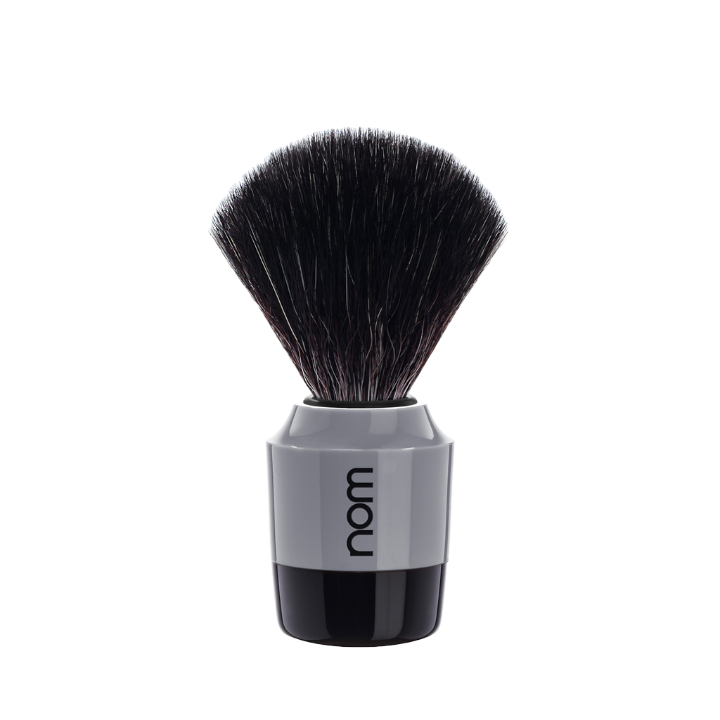 NOM Shaving Brush, Black Fibre, Plastic Black/Grey - BUYBARBER.COM