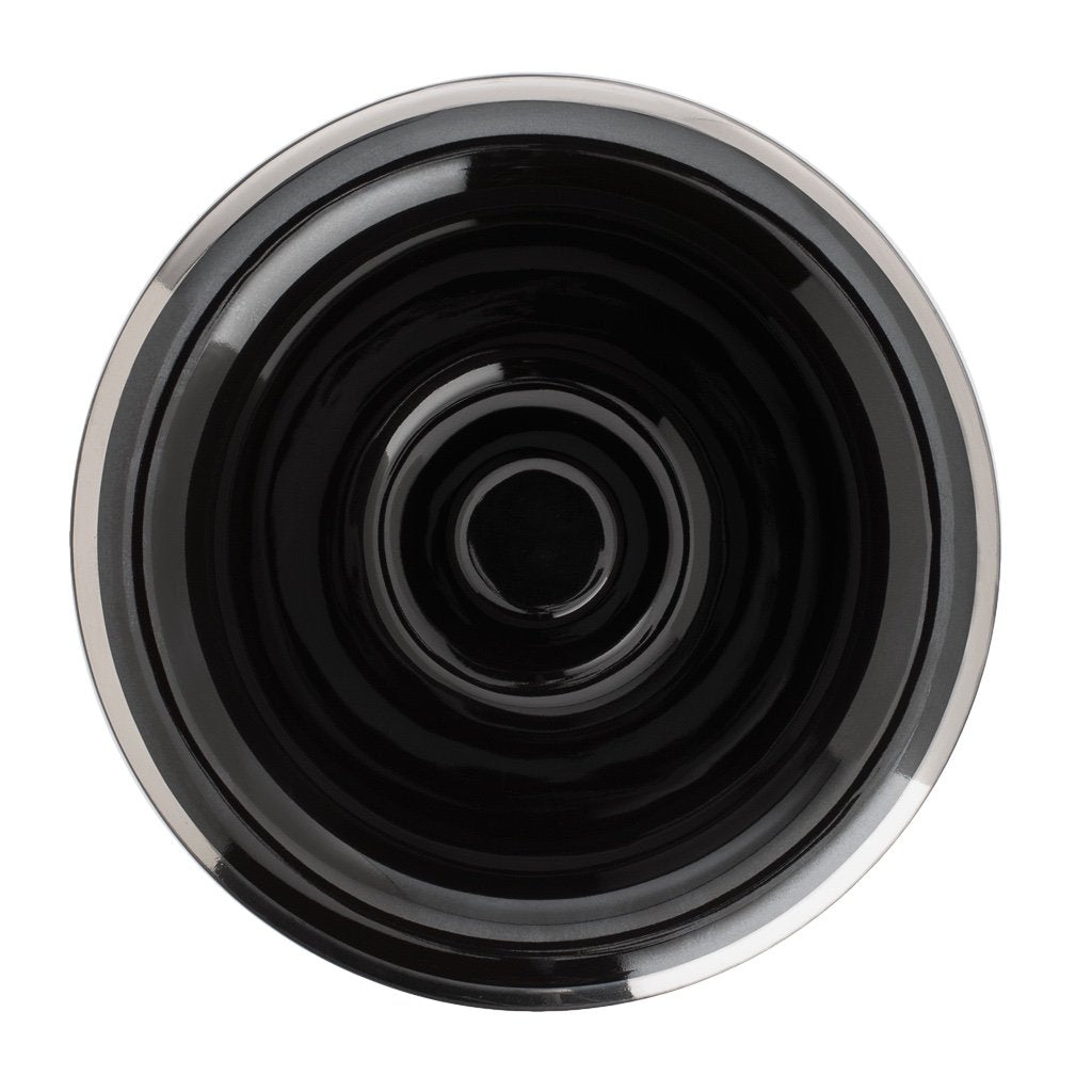 Shaving Bowl- Black Porcelain Platinum Rim- Hand Made in Germany - BUYBARBER.COM