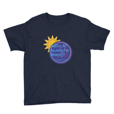 Diabetics Eat Challenges for Breakfast Youth XS/S/M/L/XL 6-18 yrs old  Sleeve T-Shirt - ThisDiabetic.com