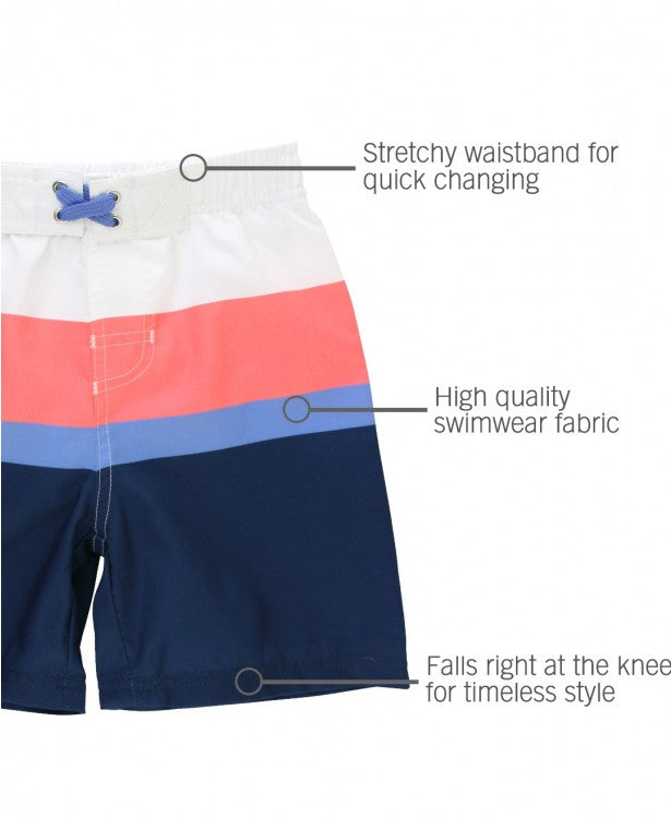 Coral & Blue Color Block Swim Trunks | RuggedButts