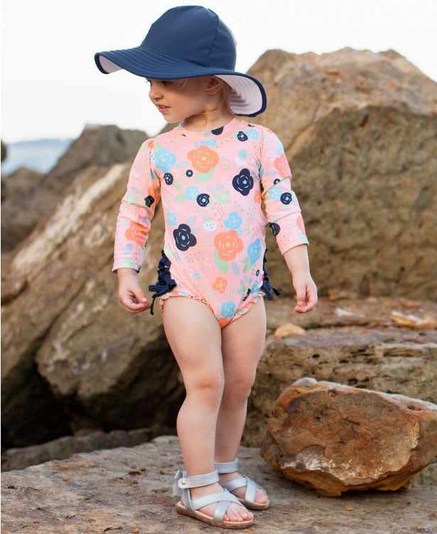 Bouncing Blooms One Piece Rash Guard | RuffleButts