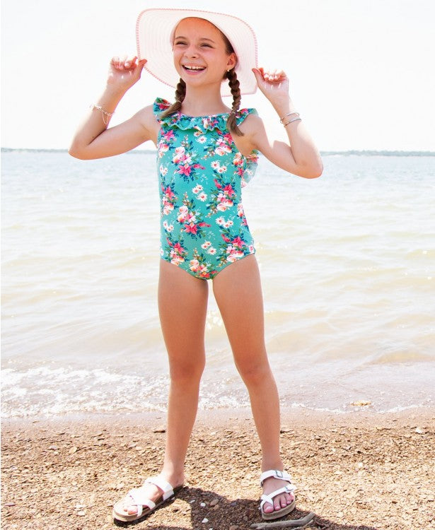 Fancy Me Floral Ruffle One Piece | RuffleButts