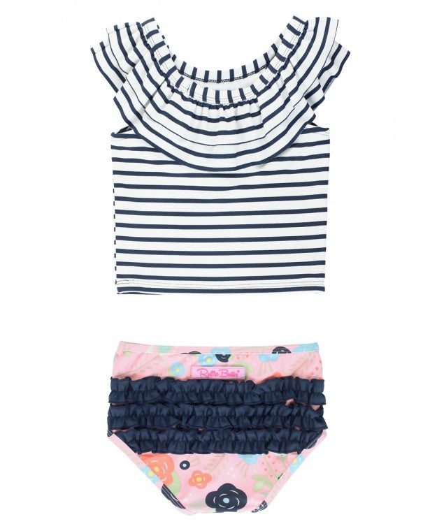 Bouncing Blooms Stripe Ruffled Tankini | RuffleButts