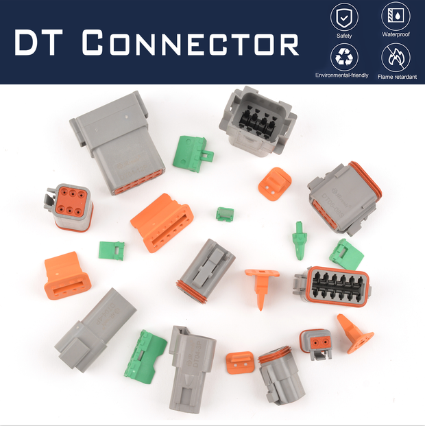 JRready DT Connector Kit 2-12 Pin Gray Waterproof Connectors/16# Barrel Style Terminals(14 AWG)/Seal Plugs