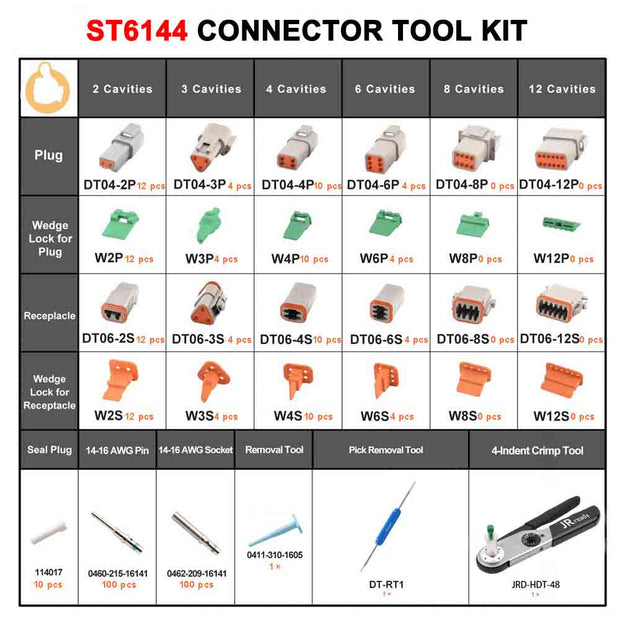 ST6144 333PCS DT Series Connector Kit:Gray contacts& JRD-HDT-48(HDT-48-00)Crimper 12-22AWG