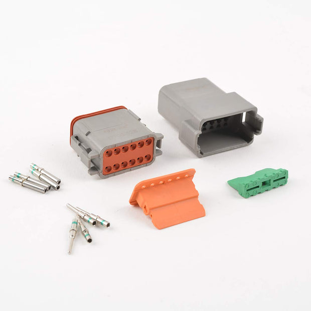 DT Series Connector 12 Pin Gray Wire Connector Plug Receptacle with Contact and Seal Plug,3 Sets
