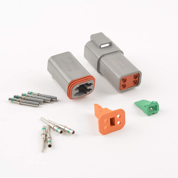 DT Connector 4 Pin Connector Gray Waterproof Electrical with Round Contact and Seal Plug,3 SetsPlug,3 Sets