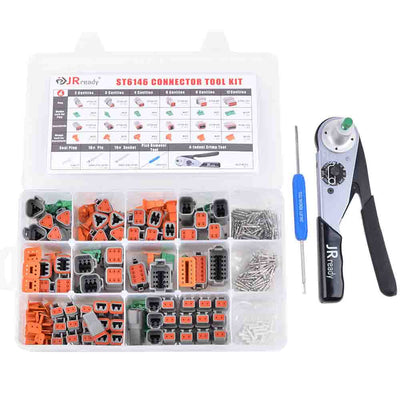 ST6146 DT Connector Kit, 2-12 Pin 368 PCS Connector/Solid Contact/Crimper ACT-M202 for 12-22AWG