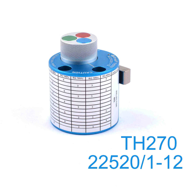 TH270 Turret Head positioner M22520/1-12 contacts terminated to RG-122, RG-142, RG-180, RG-195, and RG-400 cables