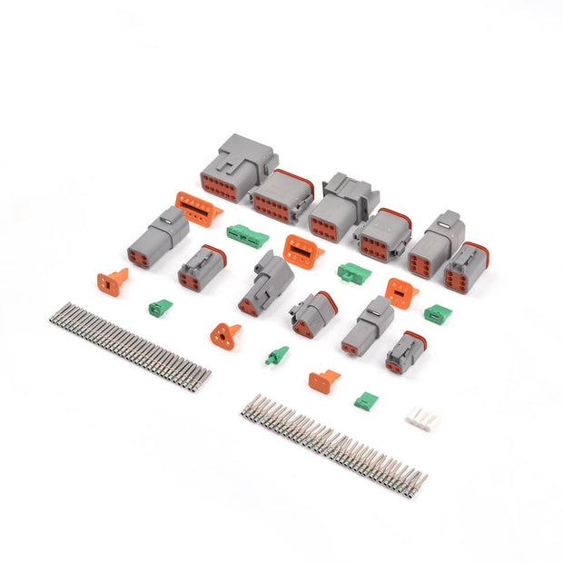 ST6134 DT Connector Kit 2-12 Pin Gray Waterproof Connectors/16# Barrel Style Terminals(14 AWG)/Seal Plugs