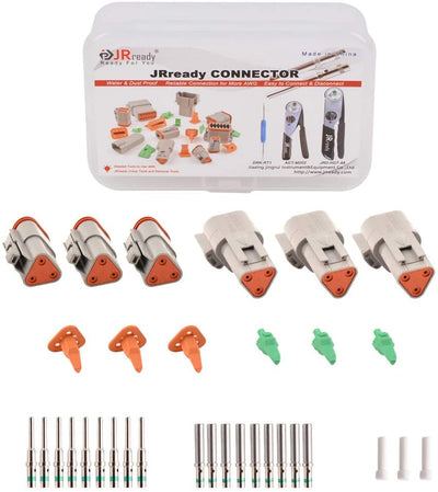 DT Connector 3 Pin Gray Waterproof Electrical Wire Connector with Terminal and Seal Plug,3 Sets