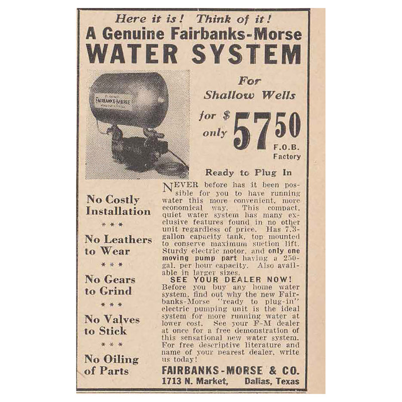 1940 Fairbanks-Morse Water System