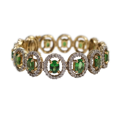 18k White and Yellow Gold Tsavorite and Diamond Bracelet