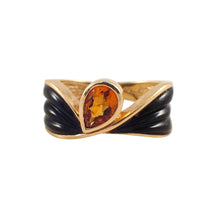 14k Yellow Gold Citrine and Onyx Ring