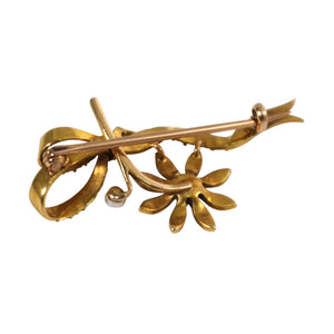 14k Yellow Gold Victorian Seed Pearl Brooch