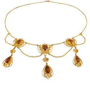 Edwardian 14k Yellow Gold Citrine and Pearl Necklace