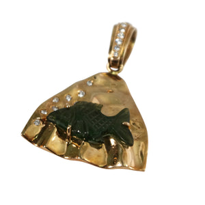 14k Yellow Gold Jade and Diamond Pendant