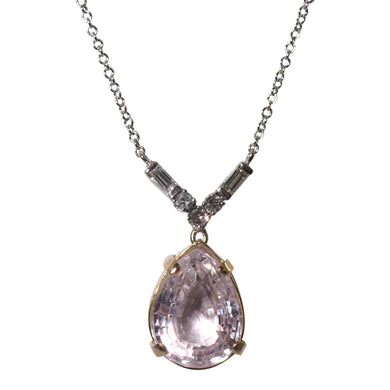 14k White and Yellow Gold Kunzite and Diamond Pendant