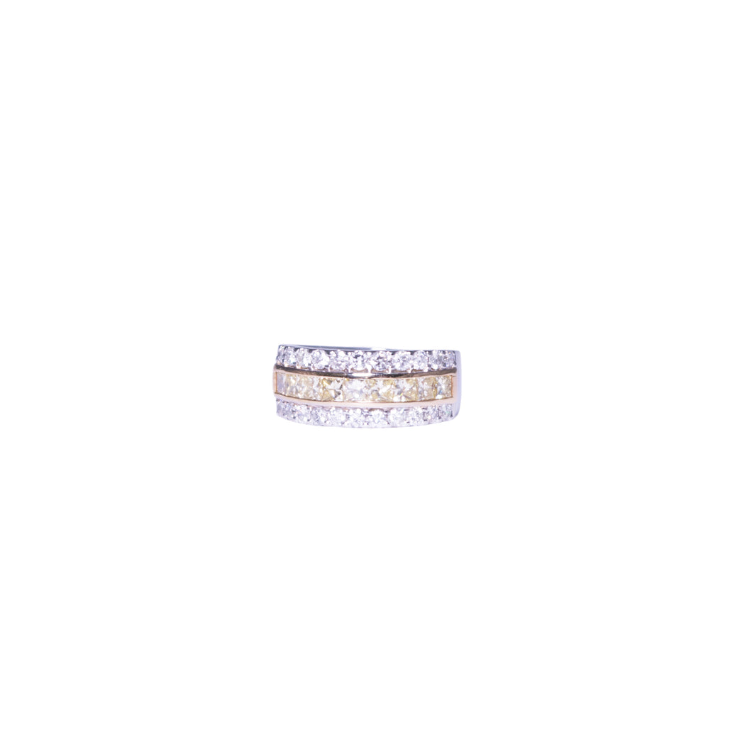 Platinum and 18k Yellow and White Gold White and Yellow Gold Diamond Band