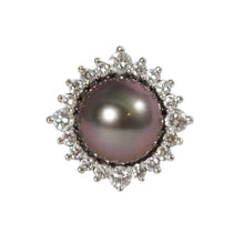 14k White Gold Tahitian Pearl and Diamond Ring
